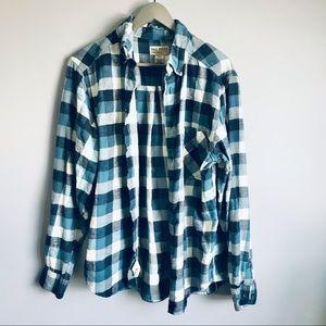 Woolrich Tall Pines plaid flannel shirt blue M